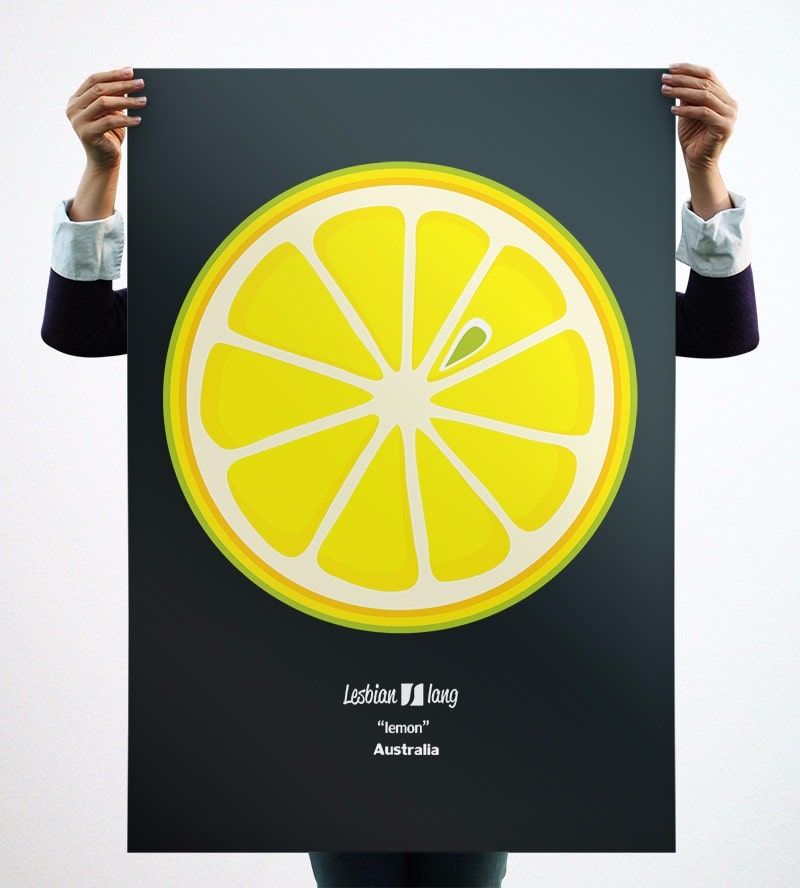 Photograph of a large poster with the drawing Lemon, held from behind by a person whose only hands are seen.