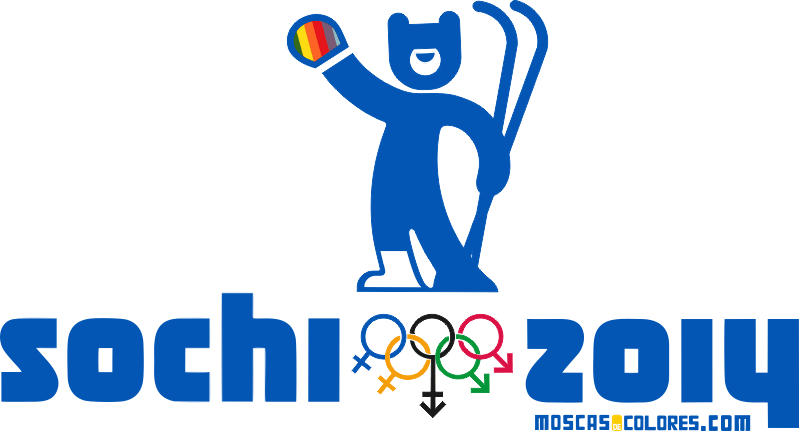 Claiming logo for the Sochi 2014 Olympic Winter Games characterized by their homophobia. A skier bear with the colors of the rainbow in his hand.