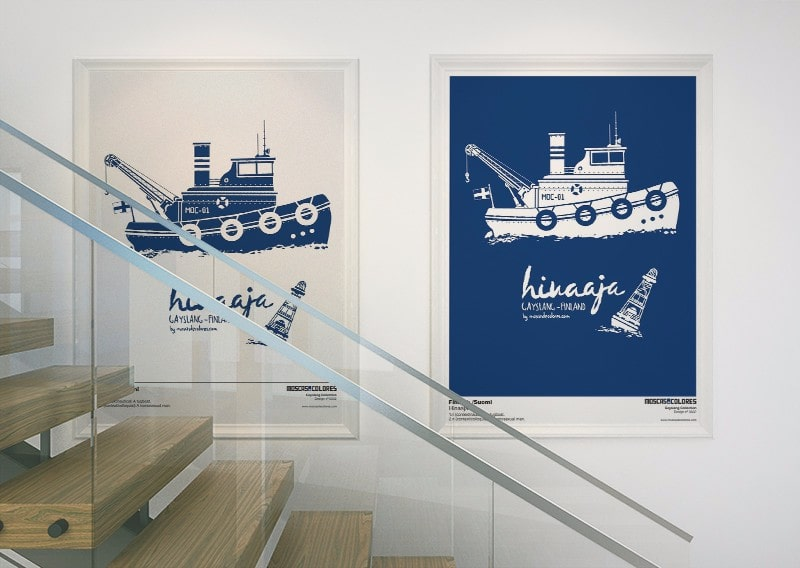 Photograph of two large illustrations of Hinaaja framed and hung on a wall.