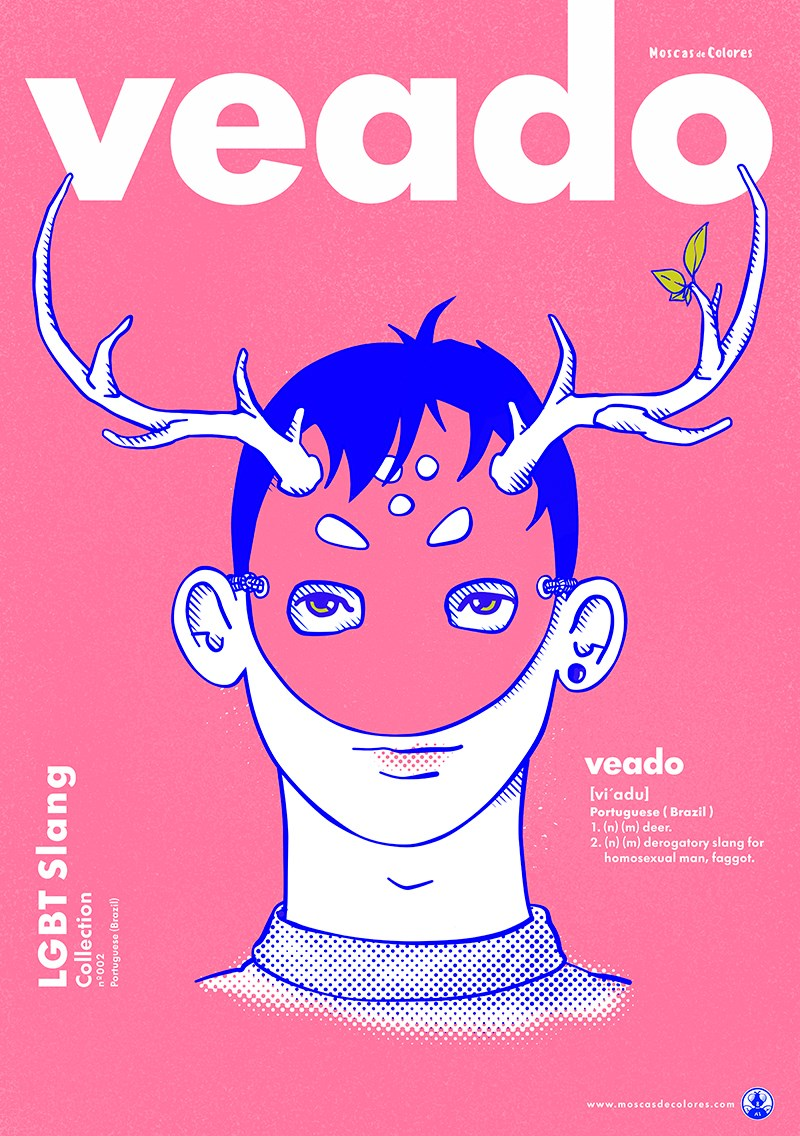 Veado design, on pink background with title text, the collection, and its meaning in English.