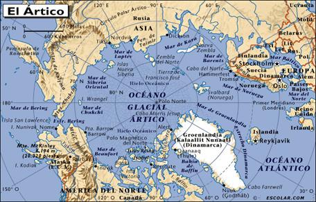 Mapa del Océano Glacial Ártico. Hogar de los Inuit. Ásia, América del Norte, Groenlandia y Europa.