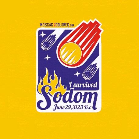 I Survived Sodom. The illustration we have created about the history of Sodom. With humor and against homophobic bible and church. Illustration in flat colors, yellow, blue, red and white, with the text I Survived Sodom.