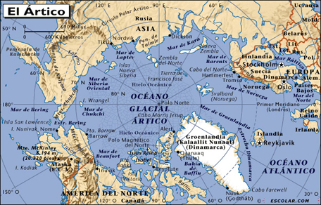 Map of the Arctic Ocean. Inuit home. Asia, North America, Greenland, and Europe. Light color on blue background.
