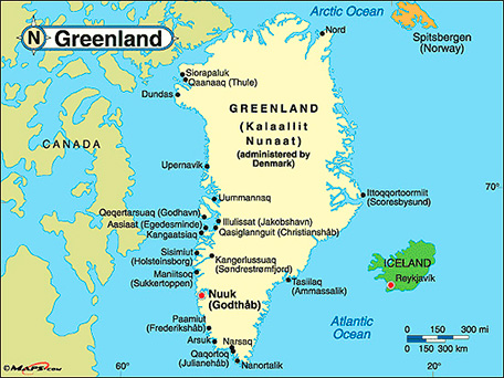 Kalaallit Nunaat or Greenland map with localities. White color on blue background.
