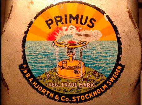 Photo of the Primus logo printed on an old stove. One stove that was very important to Inuit people.