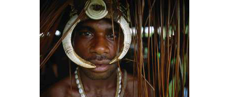 Member of a Sambia tribe taken up close.