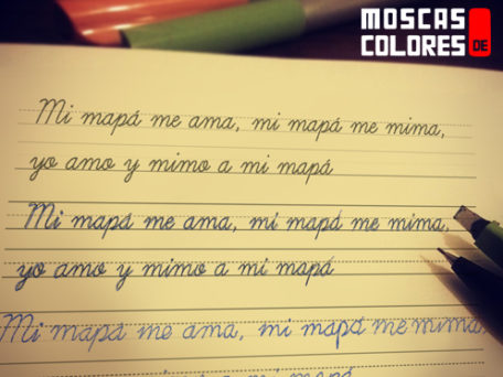 """Calligraphy notebook with the text """"My moppa loves me, my moppa pamper me, I love and pamper my moppa""""."""