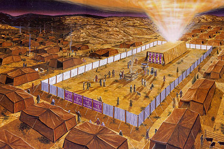 Recreation of the tabernacle surrounded by the huts of the Levites, surrounded in turn by the rest of the tribes of Israel. Basically they lived in the presence and around God