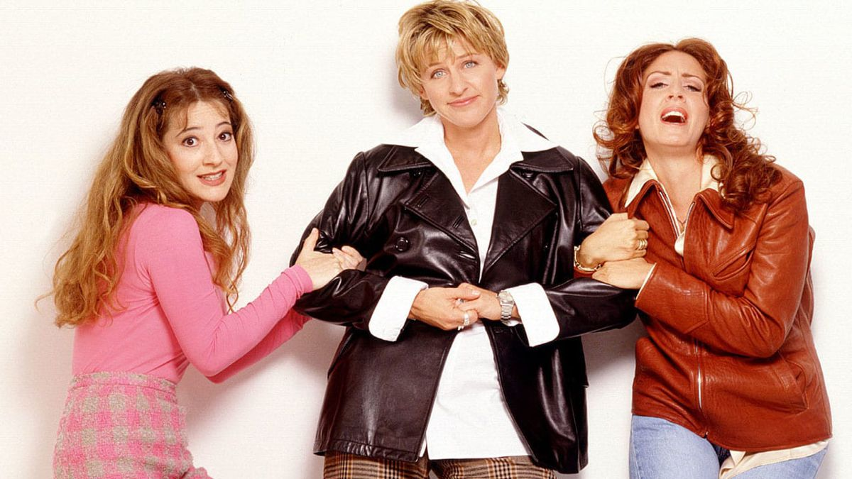 Promotional photography of the protagonists the television series Ellen, possible origin of the expression Chapstick lesbian.