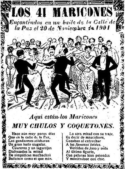 Publication of the events that gave rise to the slang expression Forty-one, with a black and white illustation where you can see men dancing with other men dressed as women