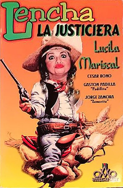 Orange background poster in which Lencha is seen dressed as a cowboy, big pistol in hand, on the back of a horse.