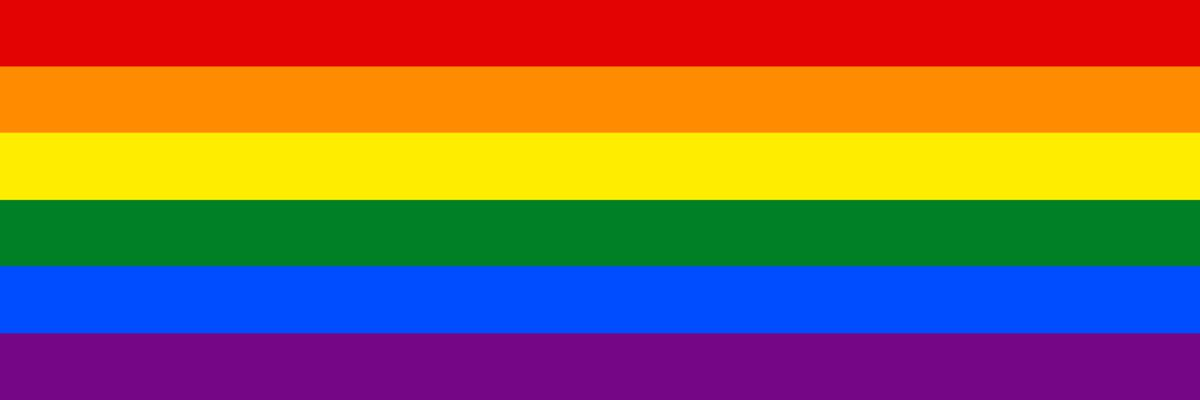 Image of the LGBT pride flag, 7 stripes with the colors of the rainbow.