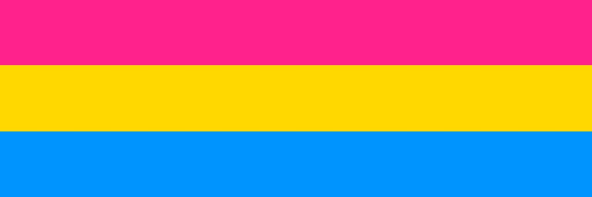 Image of the pansexual flag, composed of three stripes, from top to bottom, pink, yellow and blue.