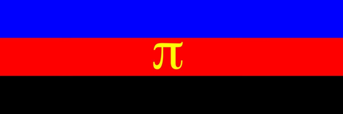 Image of the Polyamory flag, composed of three stripes, from top to bottom, blue, red and black. In the central strip it places the letter pi in yellow.