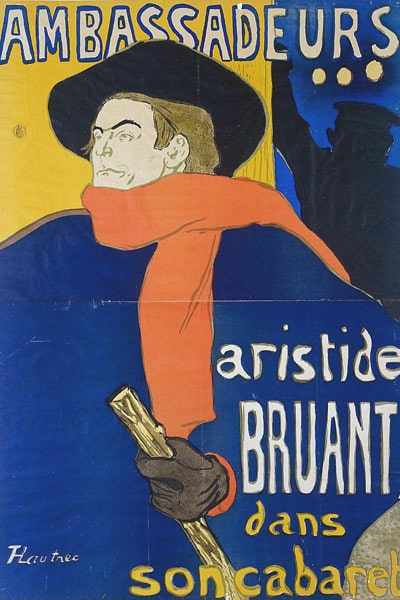 Poster of Toulouse Lautrec, where Aristide Bruant appears, author of a song that is the possible origin of french slang, Bibi.