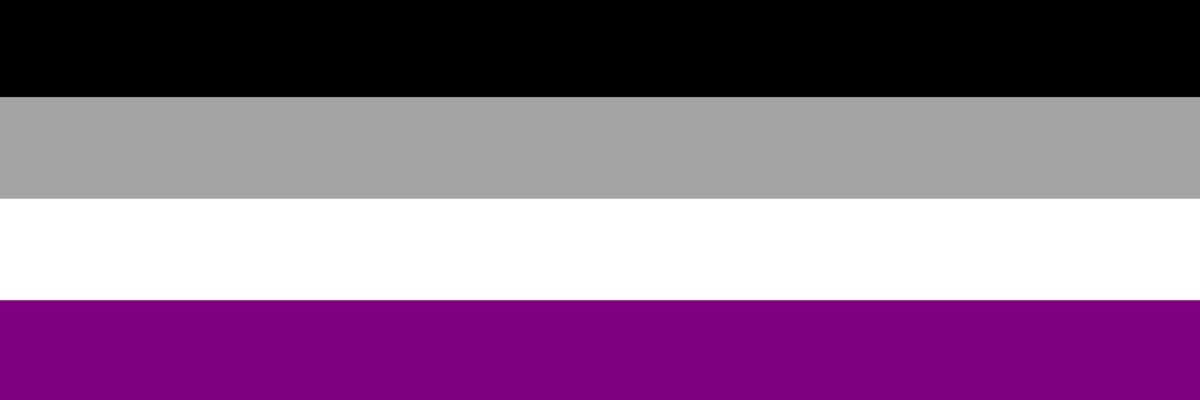 Image of the asexual flag composed of 4 stripes of black, gray, white and purple.