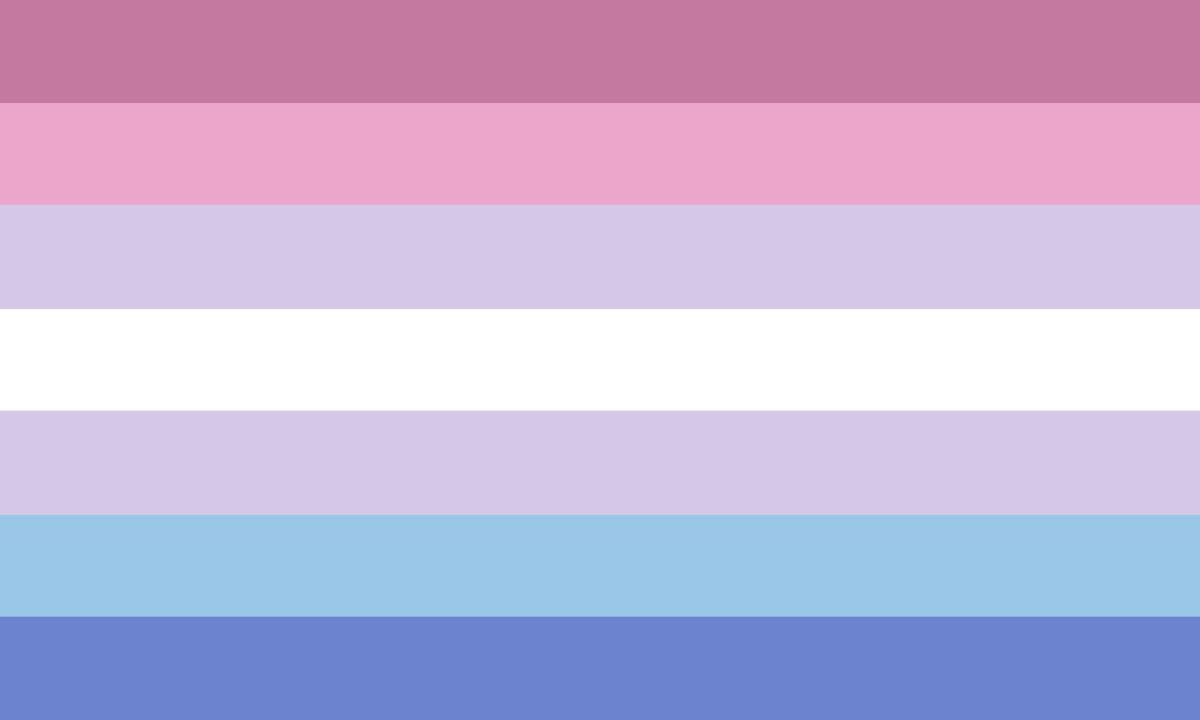 Image of the bigender flag, composed of 7 stripes, centered by a white, with shades of pink above and blue below.
