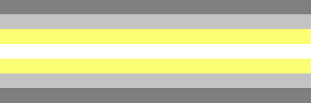Image of the Demigender flag composed of 7 stripes, centered by a white and two yellow, and above and below two shades of gray.
