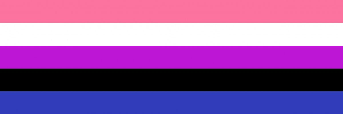 Image of Genderfluid flag, composed of 5 stripes, from top to bottom, pink, white, violet, black and blue.