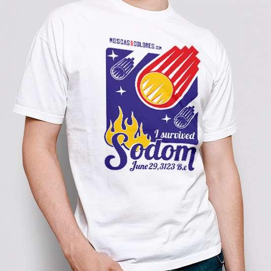 Camiseta divertida, color blanco, diseño I Survived Sodom