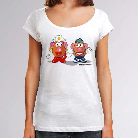 Camiseta divertida, color blanco, diseño Le Patate.