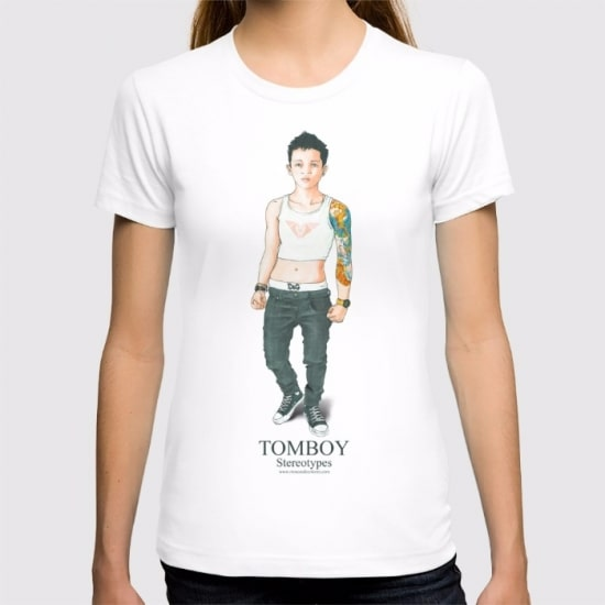 Camiseta LGBT, color blanco, diseño Tomboy