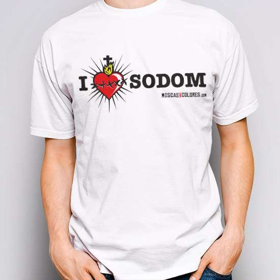 Camiseta Reivindicativa, color blanco, diseño I Love Sodom