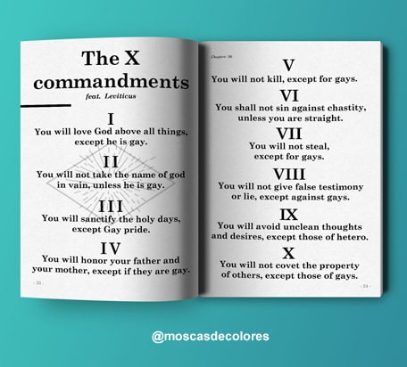 recreation of the 10 commandments, feat. Leviticus 18:22 in a book on light blue background