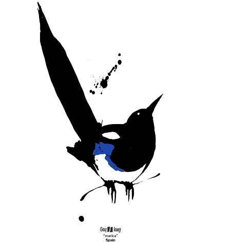 Mariconez viene de Marica. Diseño Marica de Moscas de Colores. Una urraca en negro, blanco y azul sobre fondo blanco.
