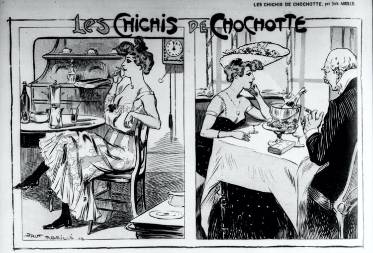 Les Chichis de Chochotte, Cartoon published on October 9, 1904 in the newspaper Le Fin de siècle, where we can see the two faces of Chochotte.