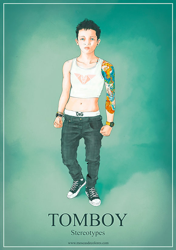 Drawing of a Tomboy girl on green background, with the word Tomboy.